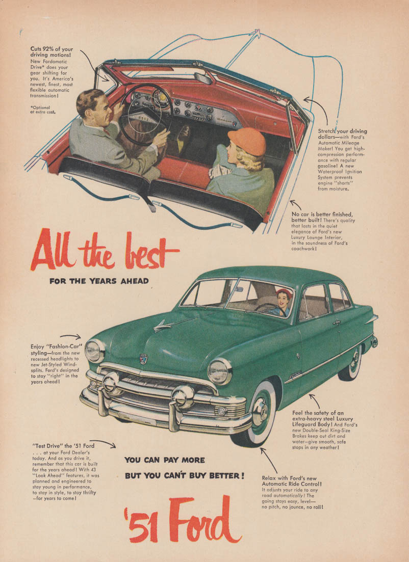 All the best for the years ahead Ford ad 1951 convertible & 2-dr sedan T