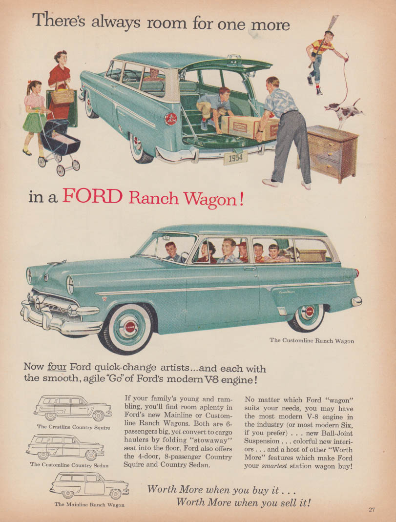Always room for one more Ford Ranch Wagon ad 1954
