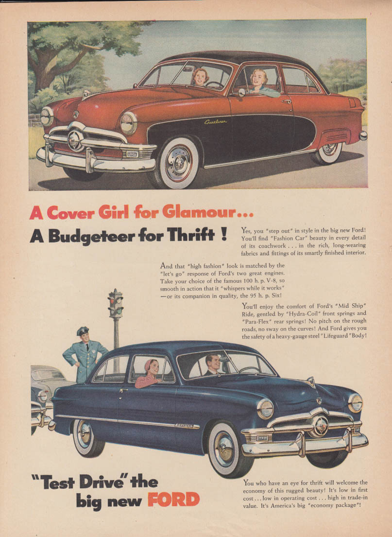 A Cover Girl for Glamour A Budgeteer for Thrift Ford ad 1950 Crestliner T