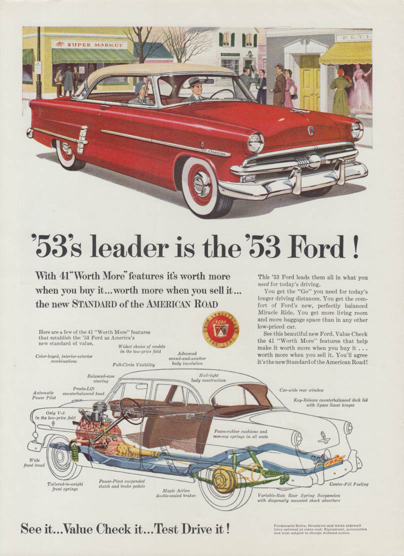 1953's leader is the 1953 Ford Crestline 2-dr HT ad 1953 USN