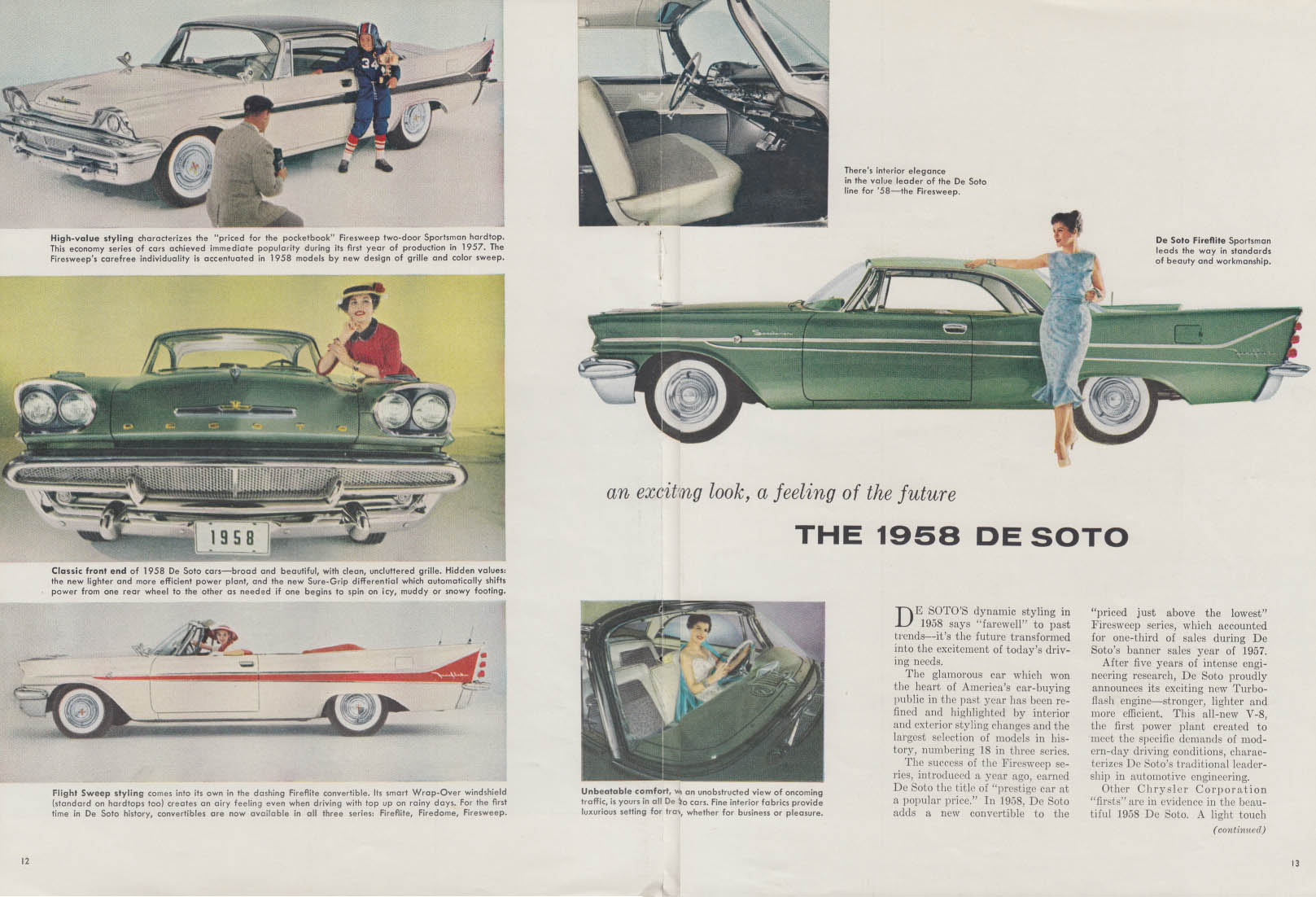 An exciting look a feling of the future De Soto ad 1958