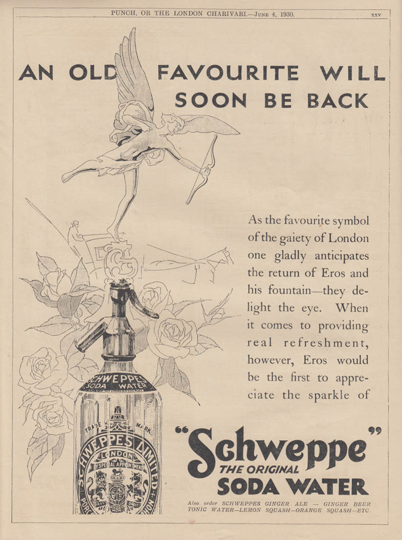 An original will soon be back Schweppes Soda Water ad 1930