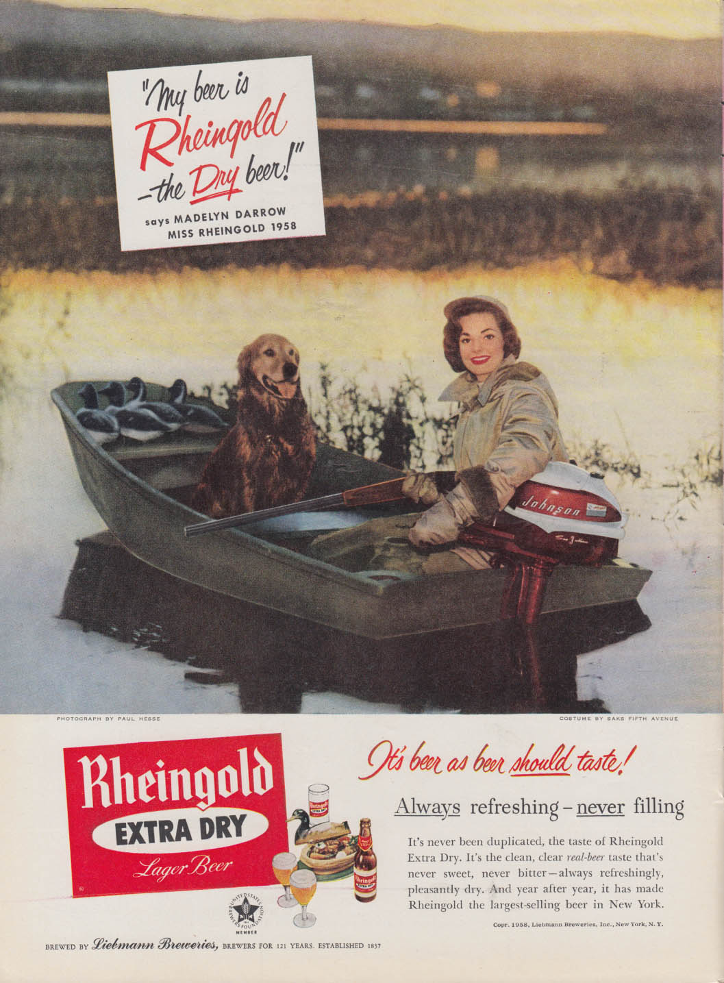 Miss Rheingold Beer Madelyn Darrow ad 1958 hunting duck from boat