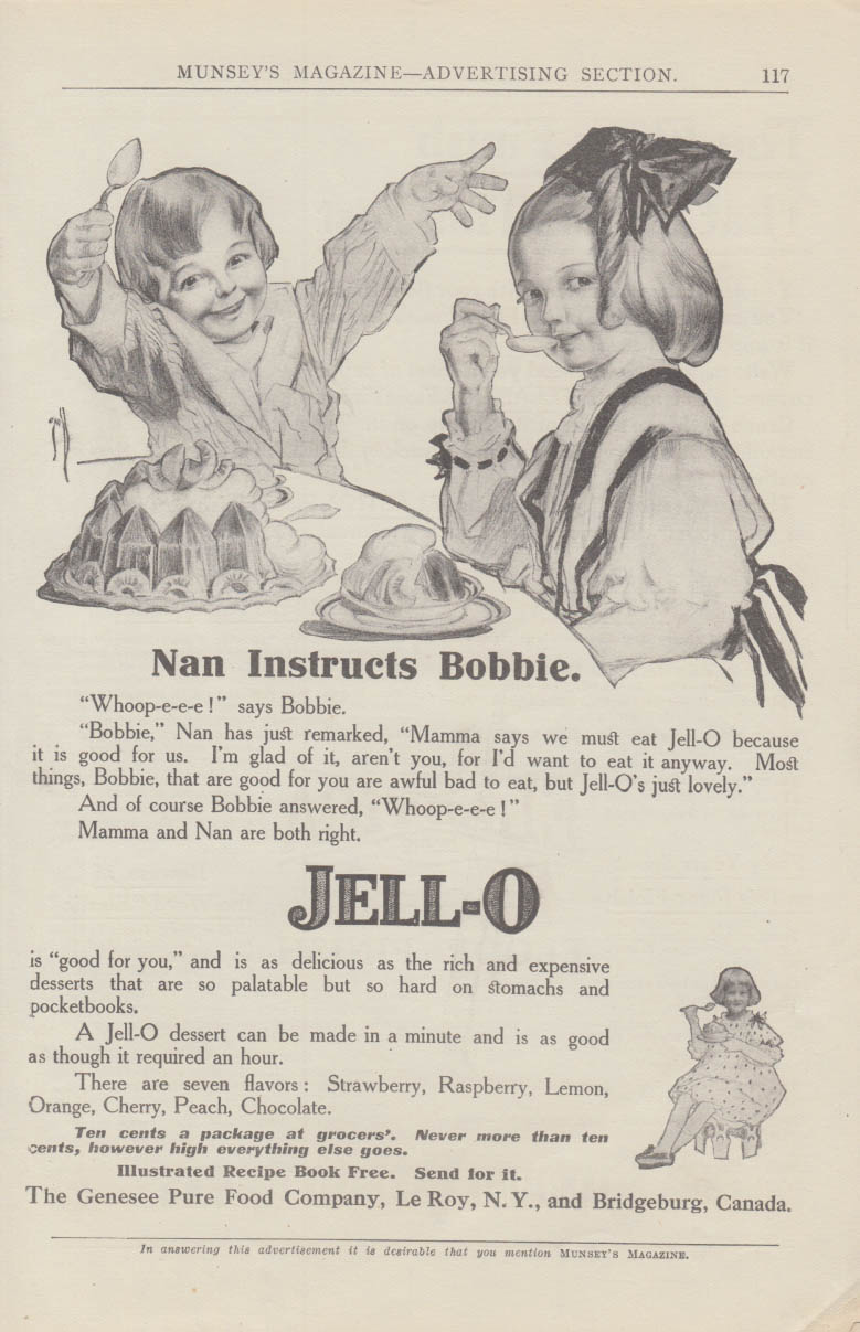 Nan Instructs Bobbie Jell-O ad 1910 Rose O'Neill illustration