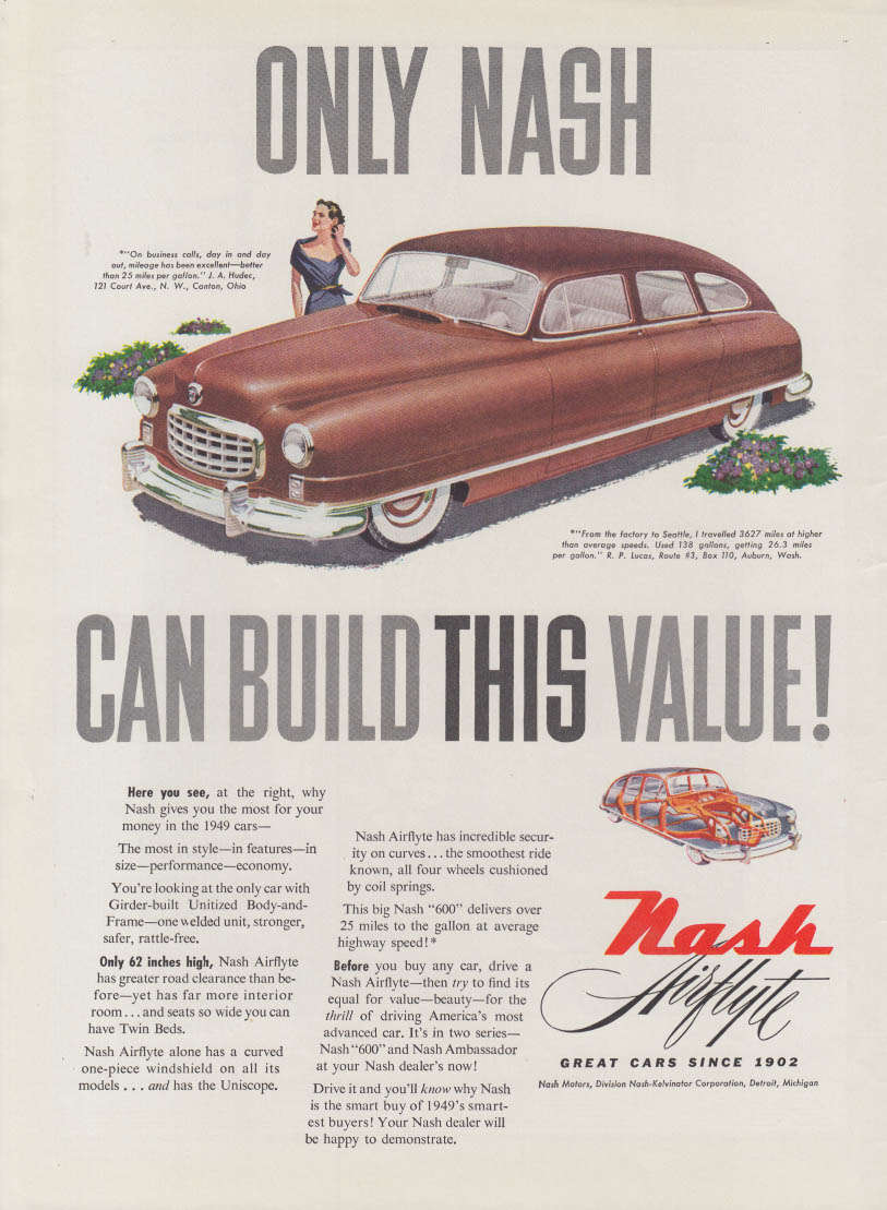 Only Nash can build this value! Nash Airflyte ad 1949 T