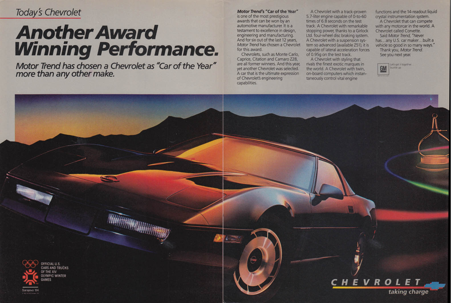 Another award winning performance Corvette ad 1984 C&D