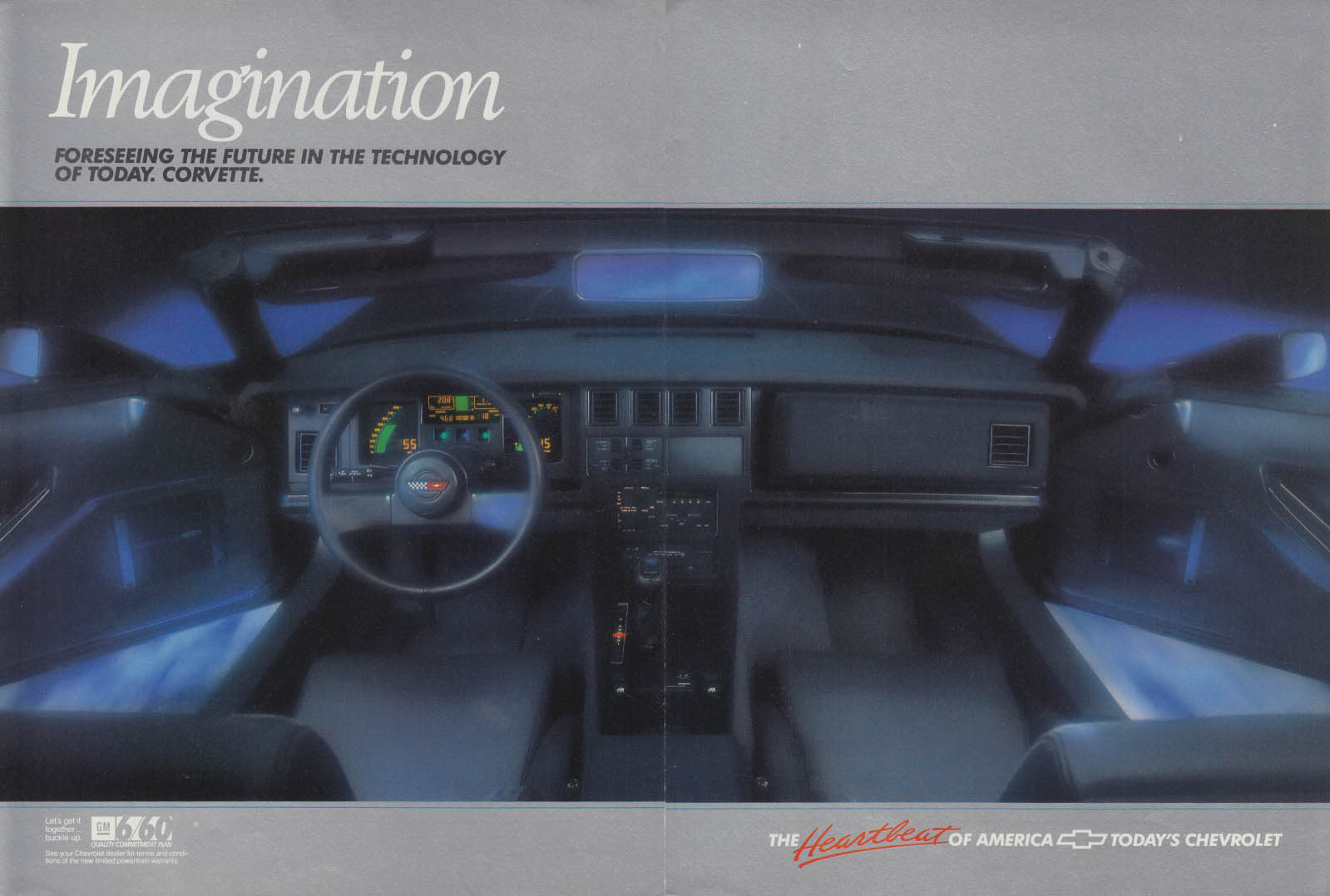 Imagination - Forseeing the future in technology today Corvette ad 1987