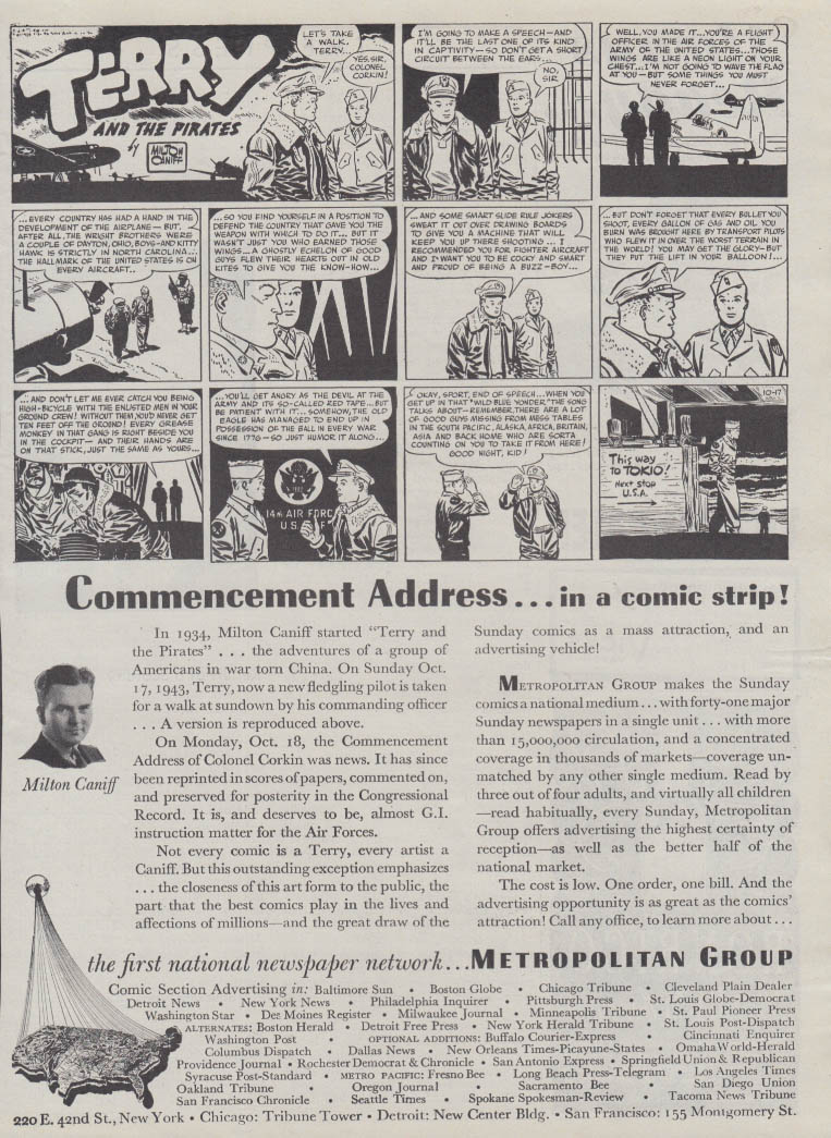 Commencement address Terry & the Pirates for Metropolitan Group ad 1943 Caniff