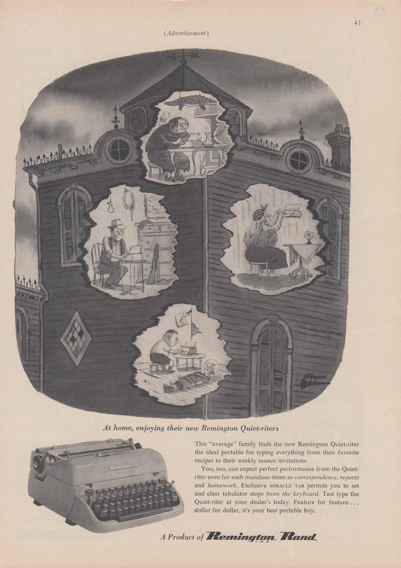 At home enjoying their Remington Typewriters ad 1953 Chas Addams illustration