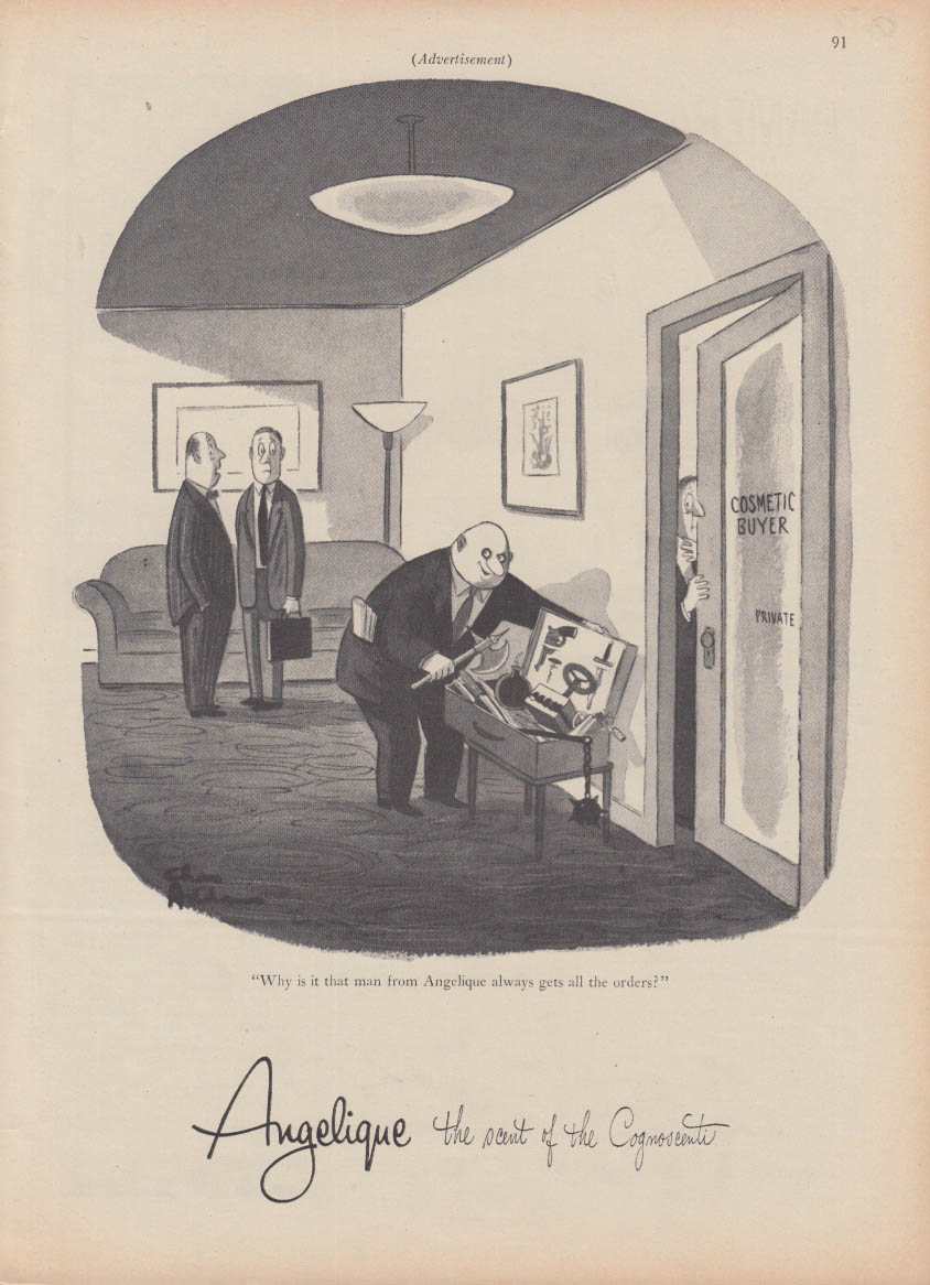 Angelique perfume ad 1956 Charles Addams illustration