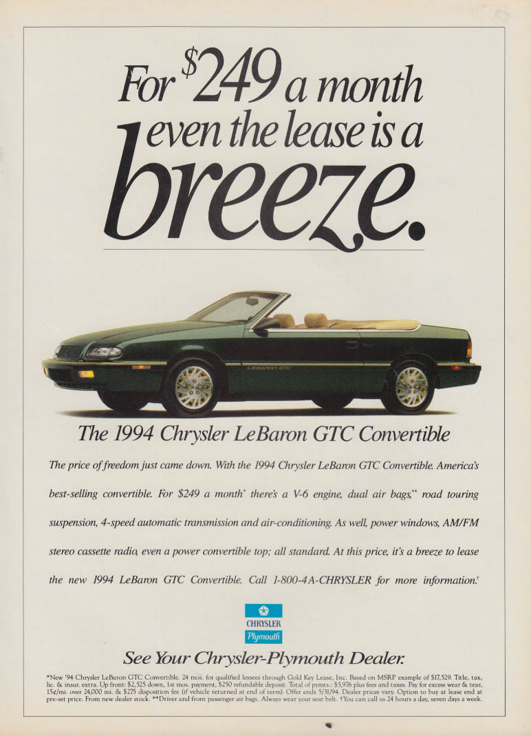 Image for Even the lease is a breeze Chrysler Le Baron GTC Convertible ad 1994