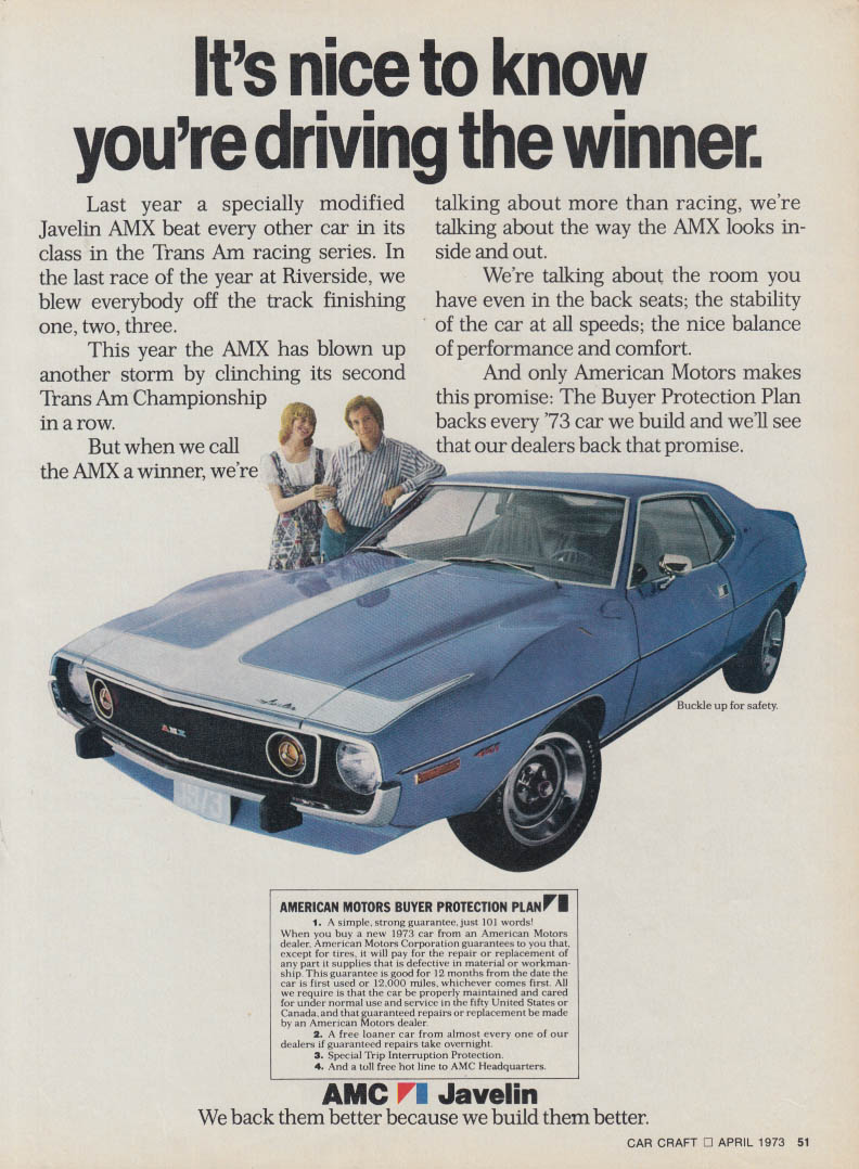 It's nice to know you're driving the winner AMC Javelin AMX ad 1973