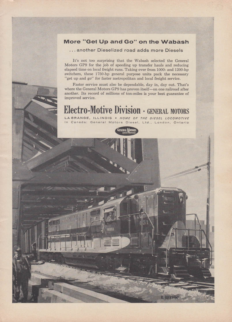 More get up & go on the Wabash GM Electro-Motive GP9 diesel loco ad 1956