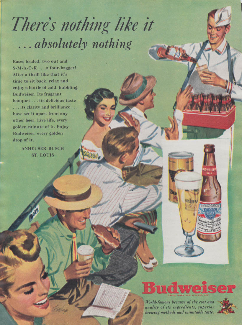 There's nothing like it absolutely nothing Budweiser Beer ad 1949 baseball