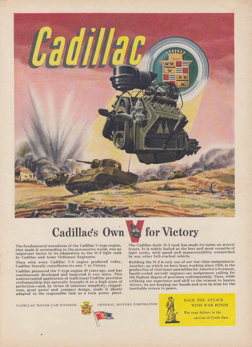 Cadillac's pwn V for Victory M-5 Light Tank engine ad 1943 NY