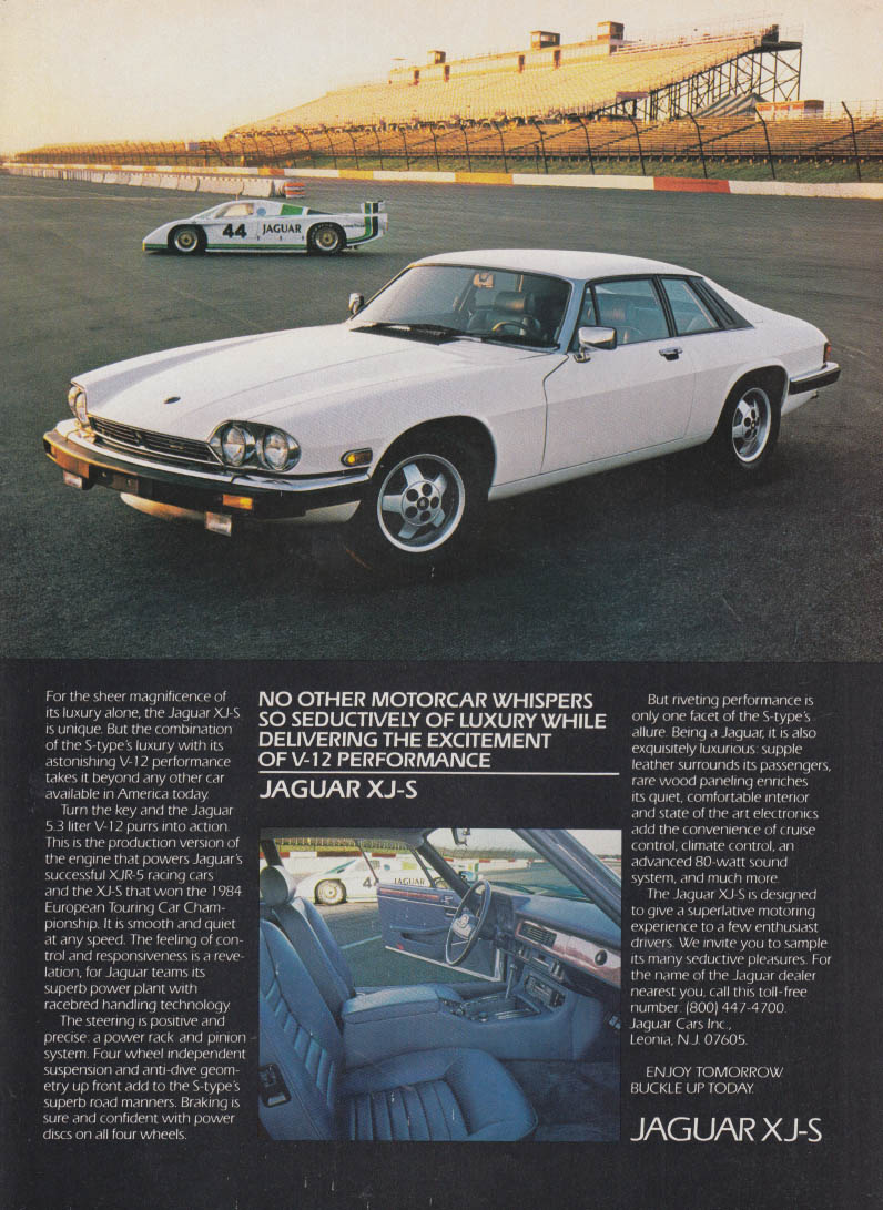 No other motorcar whispers so seductively Jaguar XJ-S ad 1985