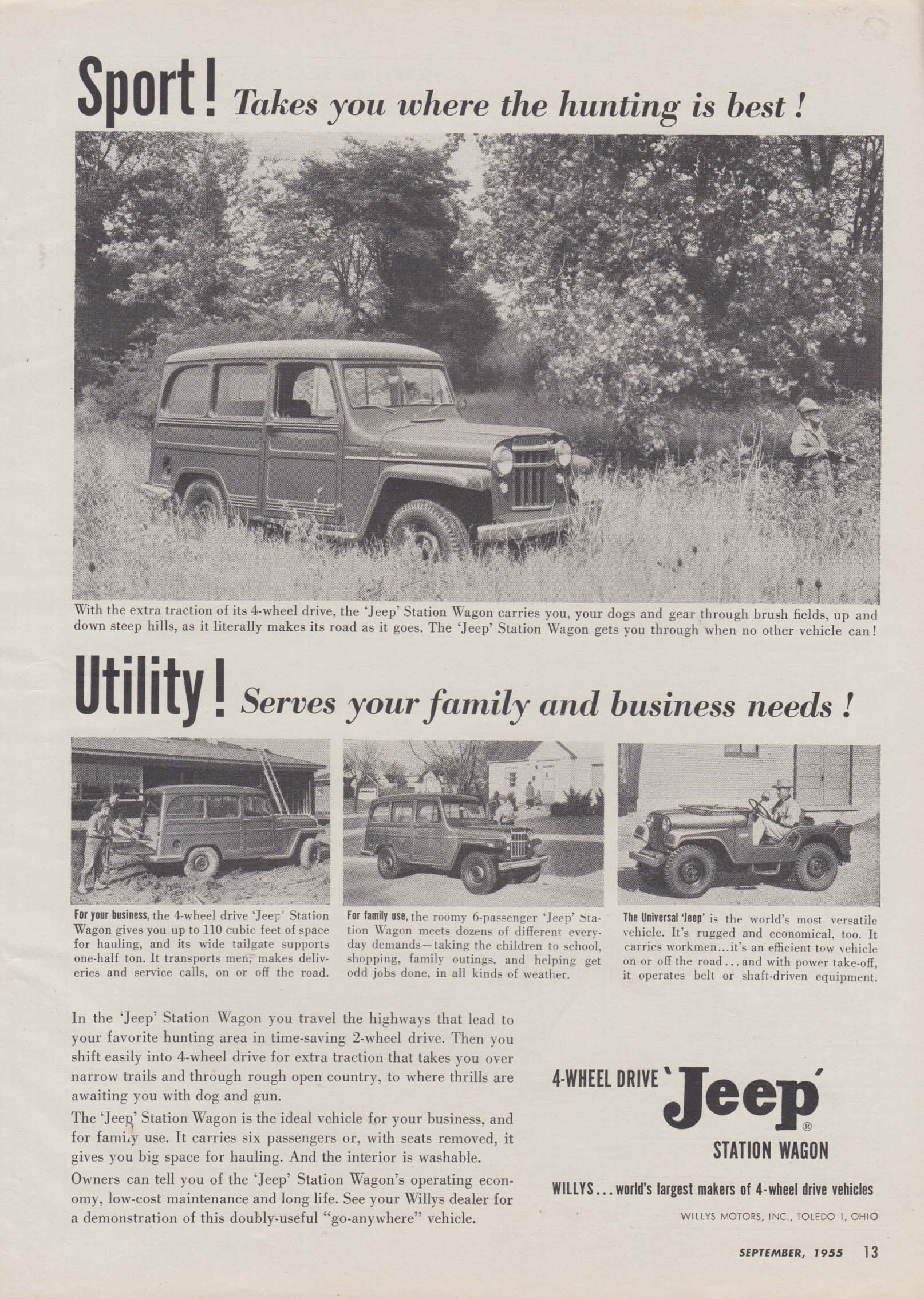Image for Sport! Utility! The 4-wheel drive Jeep Station Wagon ad 1955
