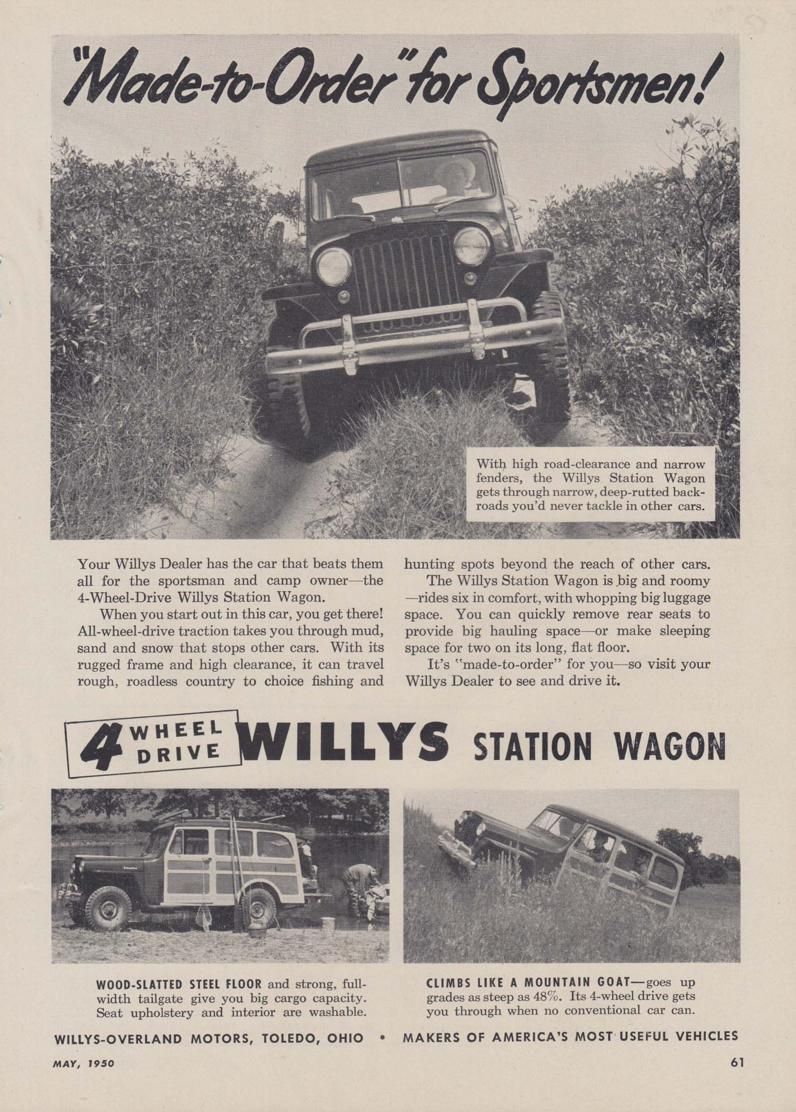 Image for Made-to-Order for Sportsmen 4-wheel drive Jeep Station Wagon ad 1950