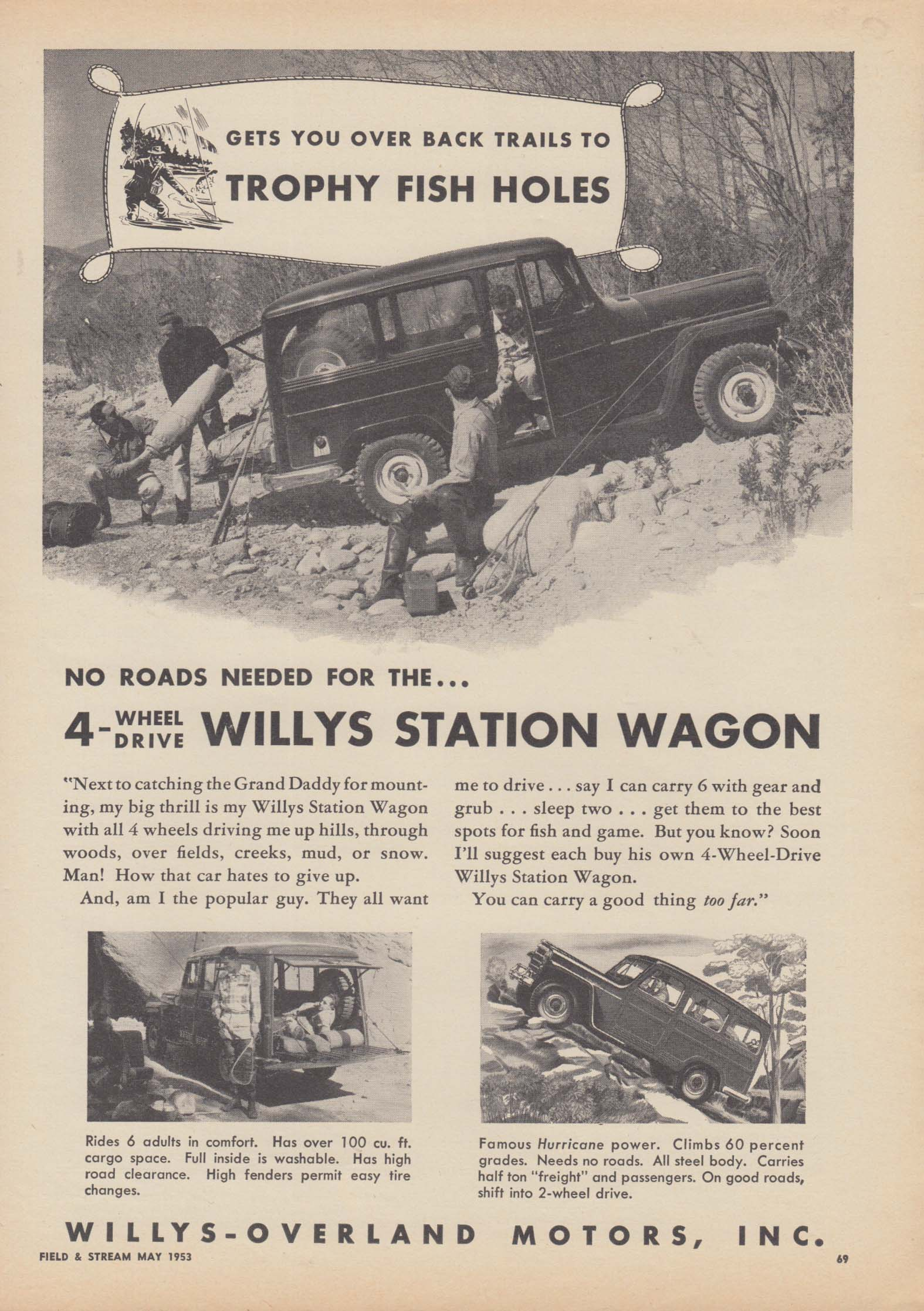 Image for Gets you over back trails to Trophy Fish Holes - Willys Station wagon ad 1953