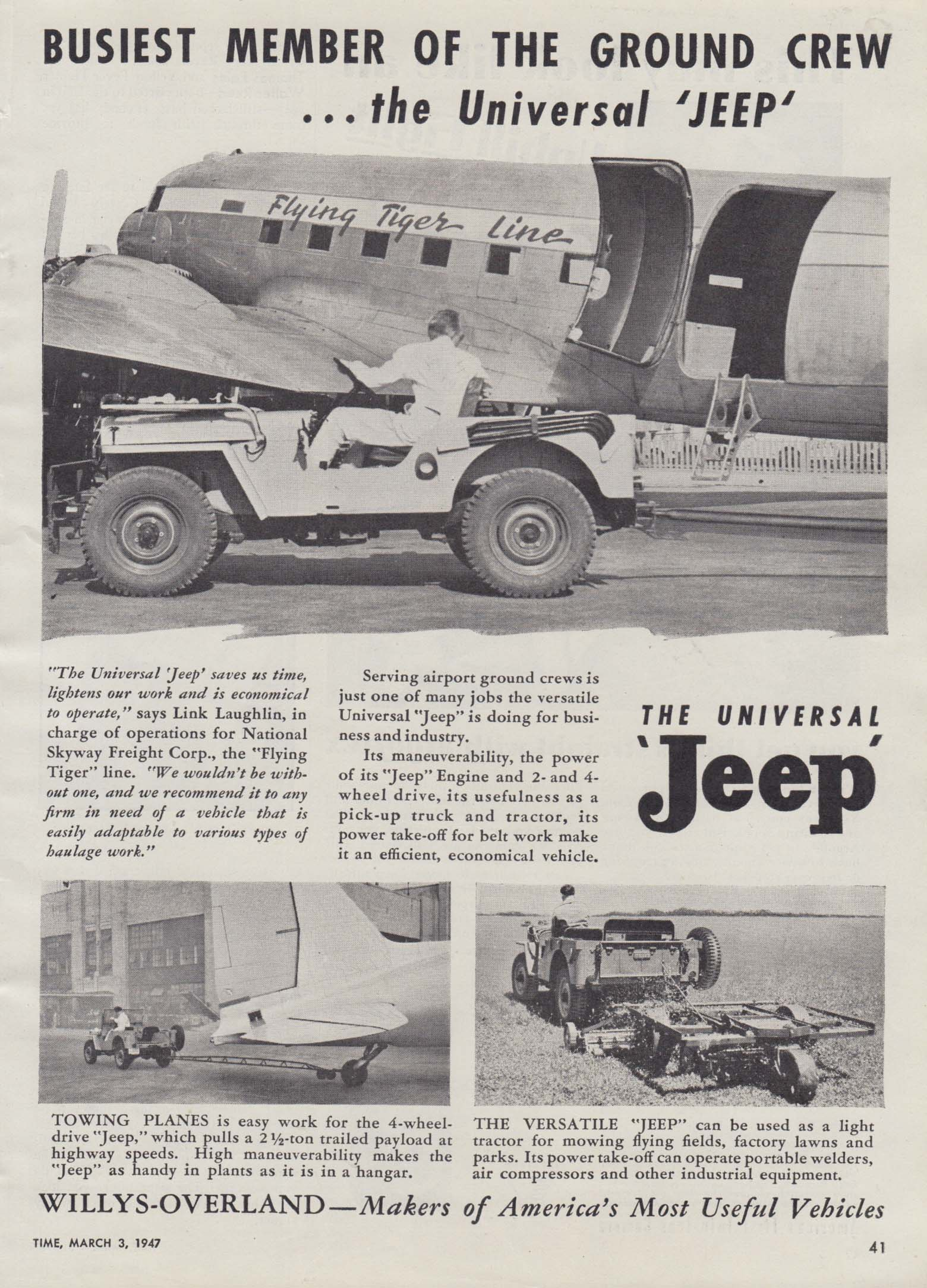 Image for Busiest member of the Flying Tiger Line ground crew Universal Jeep ad 1947 T