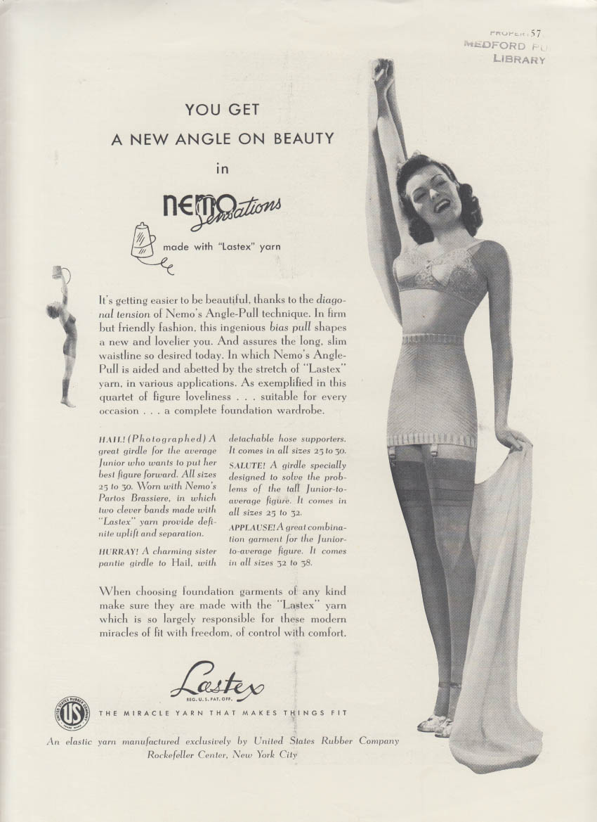 A new angle on beauty Lastex Yarn Nemo bra & girdle ad 1940 NY