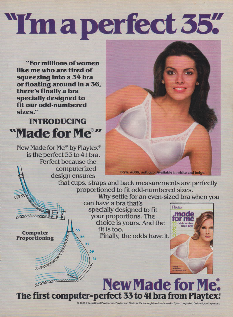 """I'm a perfect 35"" New Made for Me Bra by Playtex ad 1985 GL"