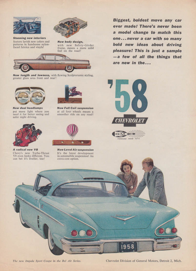 Biggest boldest move any car ever made Chrvrolet Impala Sport Coupe ad 1958 Tr