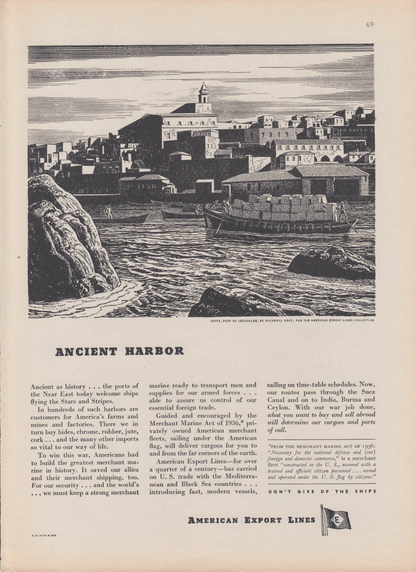 Ancient Harbor Jaffa Jerusalem by Rockwell Kent American Export Lines ad 1946