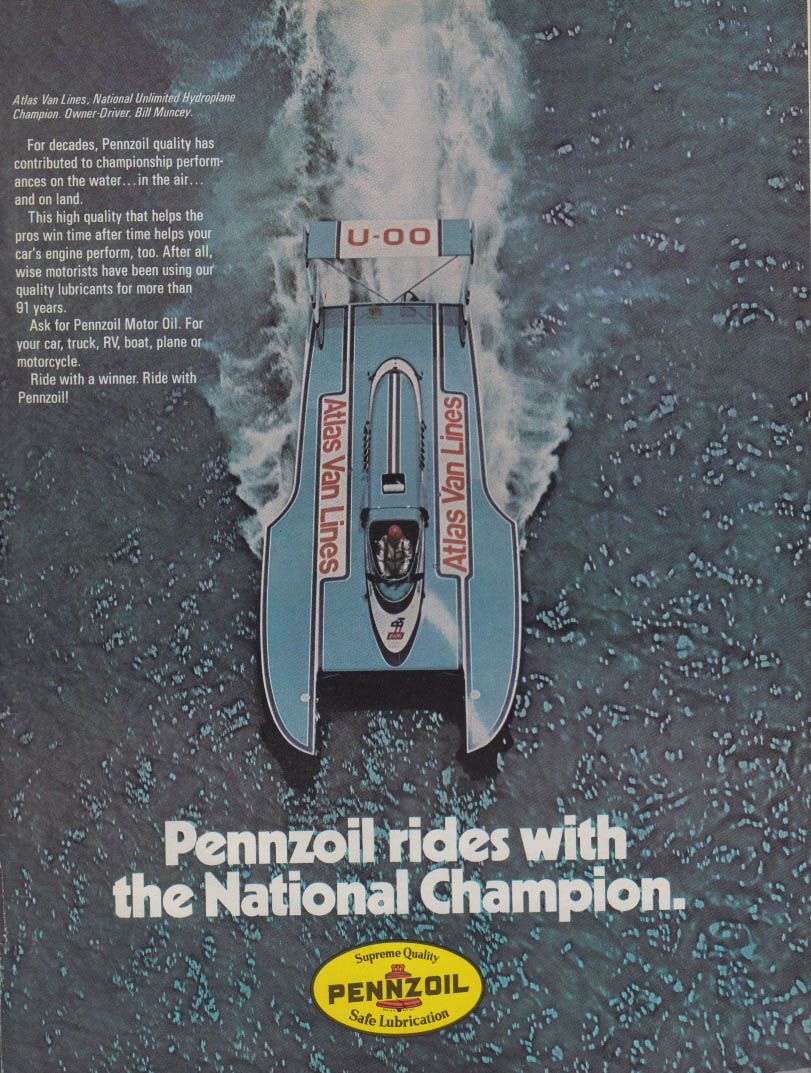 Atlas Van Lines Special Hydroplane Champ Bill Muncey Pennzoil ad 1974 SI