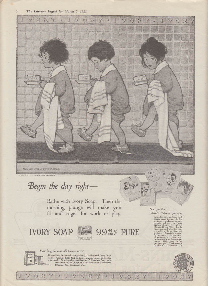 Begin the day right Ivory Soap ad 1921 3 little girls Jessie Willcox Smith