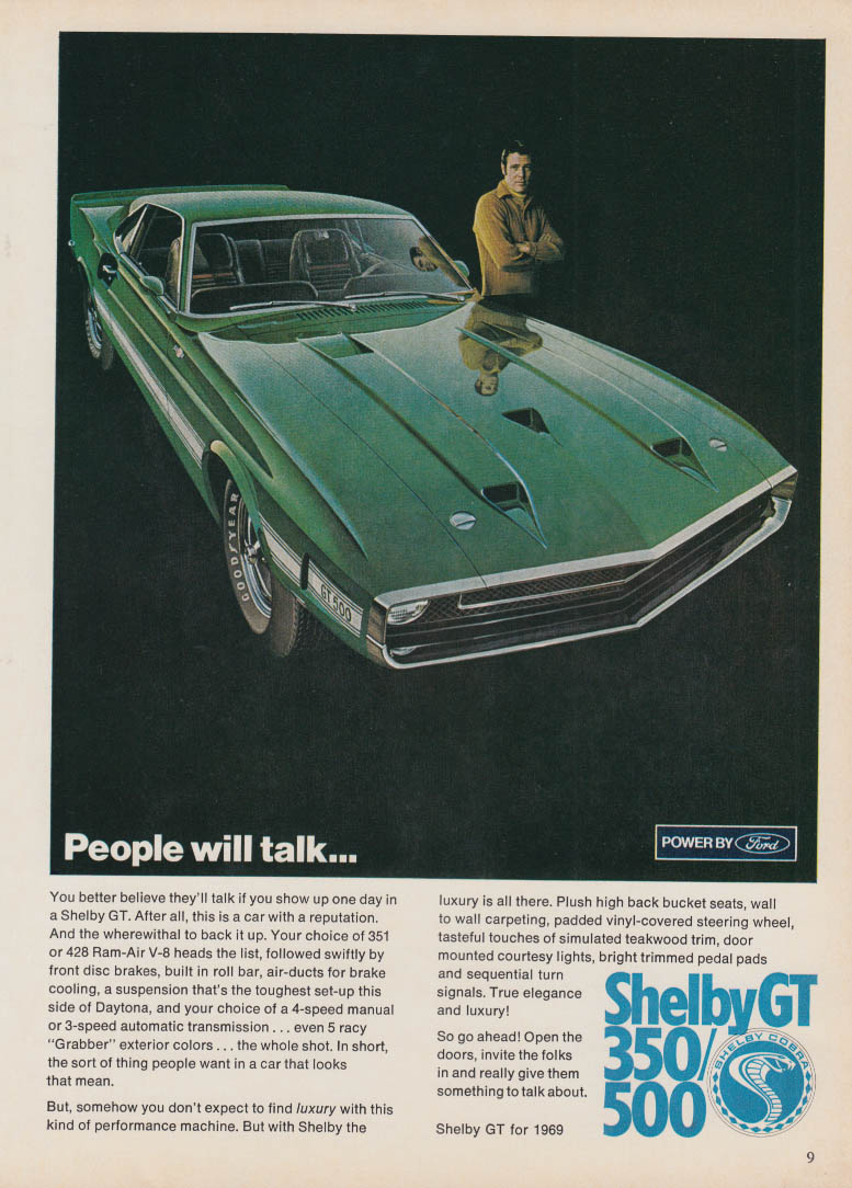 People will talk Shelby GT 350 / 500 coupe ad 1969 IAS