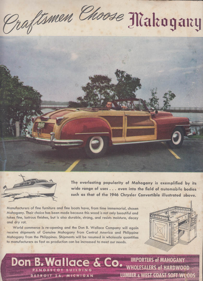 Image for Chrysler Town & Country Convertible Don B Wallace Mahogany ad 1946