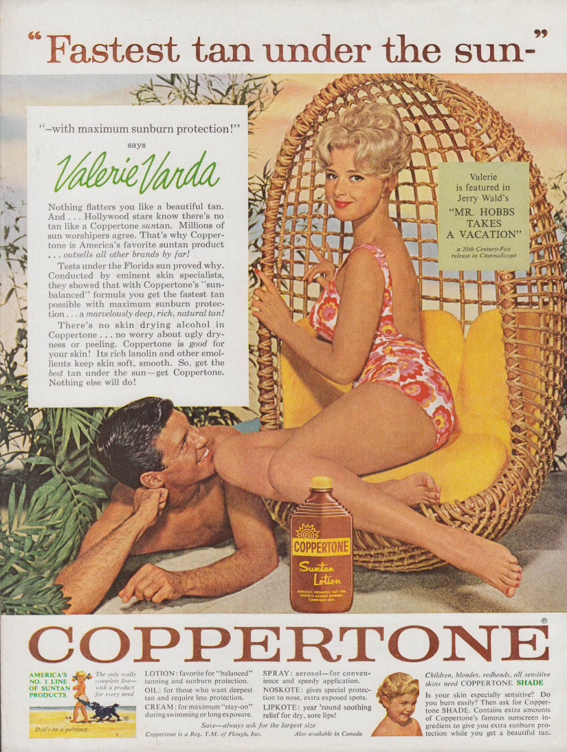 Image for Valerie Varda in Mr Hobbs Takes a Vacation for Coppertone Suntan Lotion ad 1962
