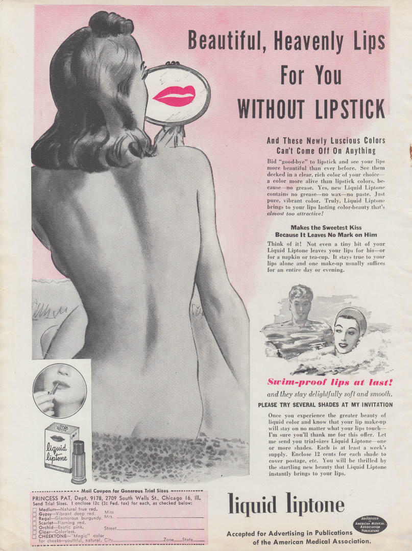 Beautiful Heavenly Lips for you Without Lipstick Liquid Liptone ad 1949 nude