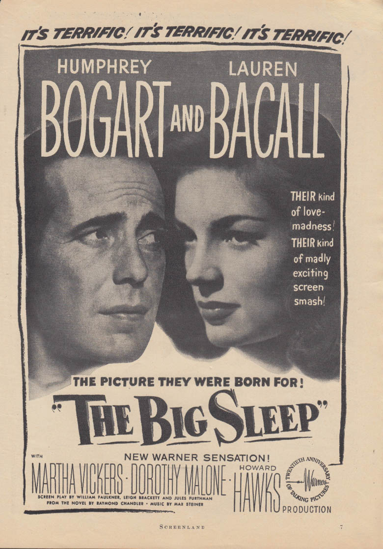The Big Sleep MAGAZINE ADVERTISEMENT 1946 Bogart & Bacall