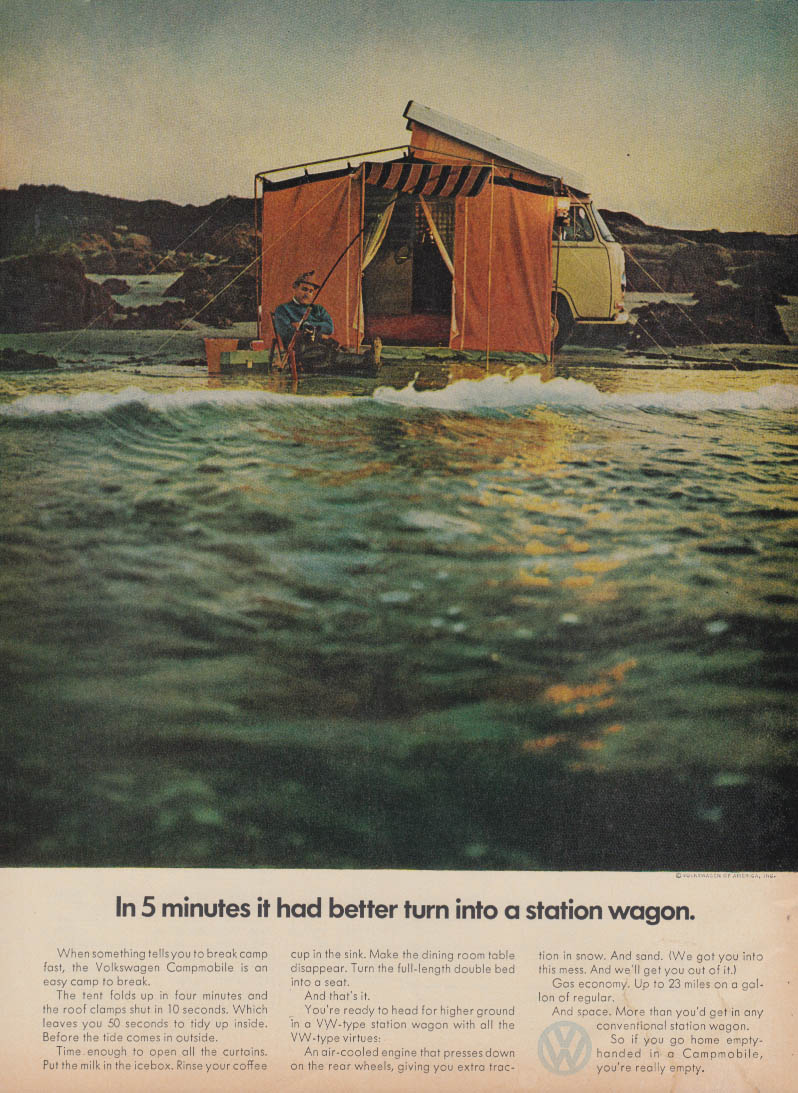 In 5 minutes it better turn into a station wagon Volkswagen Campmobile ad 1970