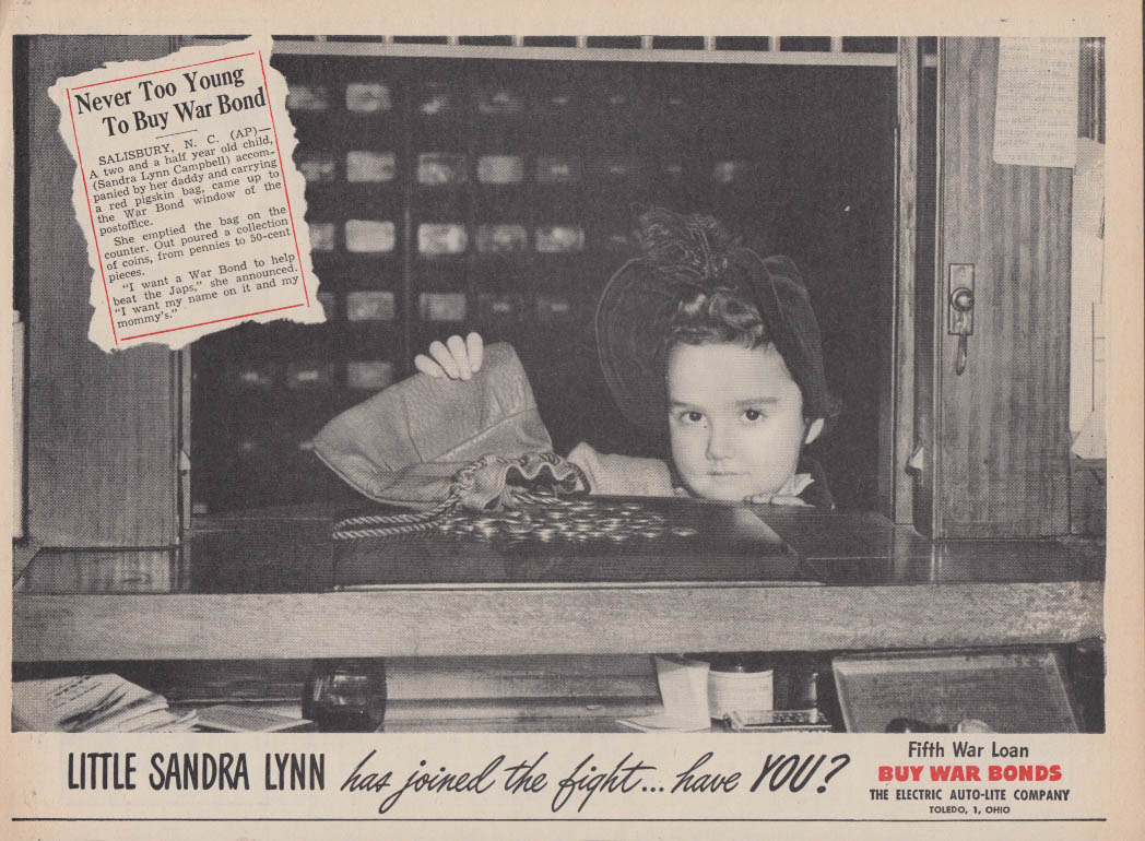 2 1/2-year old Sanda Lynn Campbell buys a War Bond Auto-Lite ad 1944
