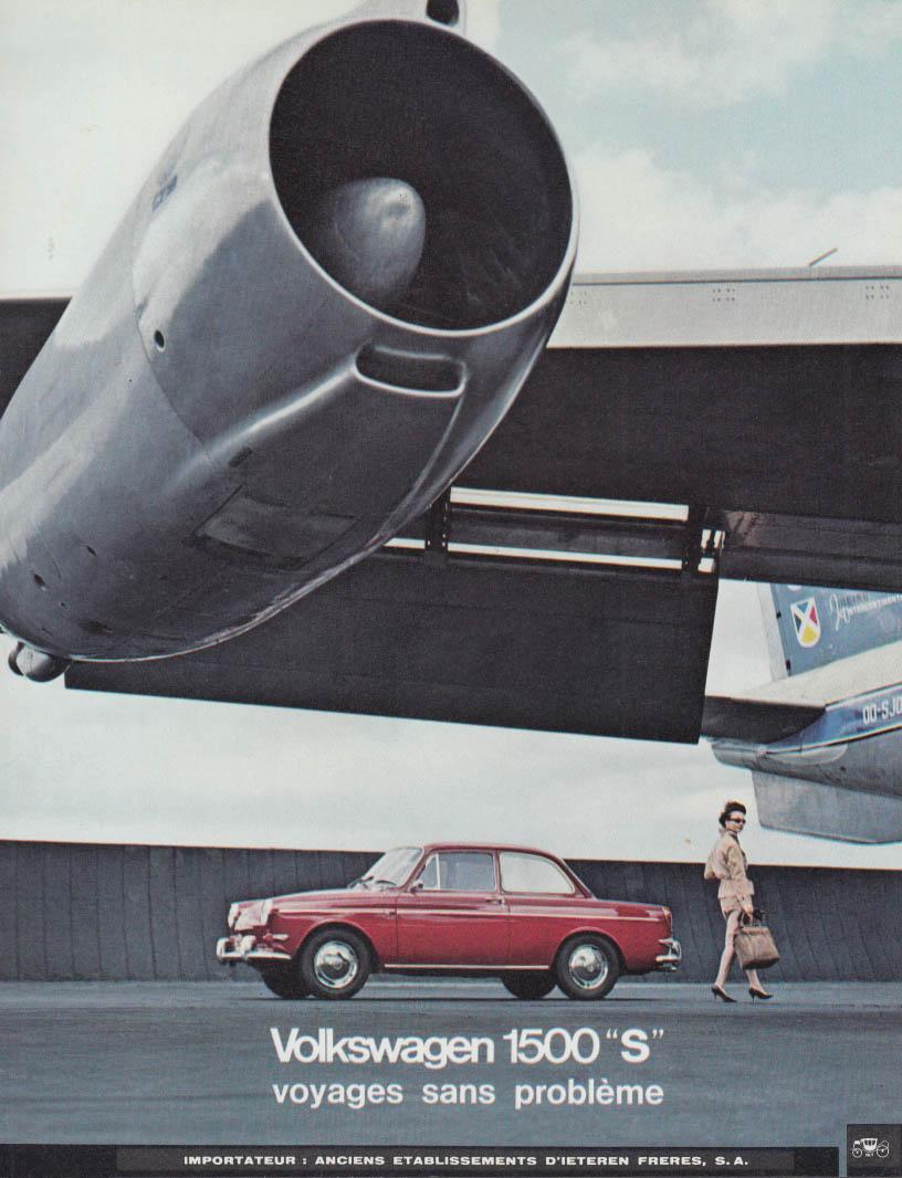 Voyages sand probleme Volkswagen 1500 S French-language ad 1964 Sabena jet