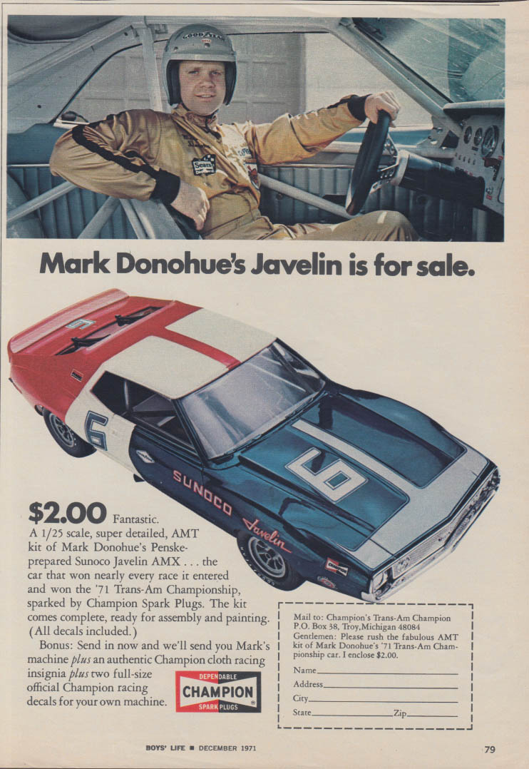 Mark Donohue's AMC Javelin is for sale Champion Spark Plugs ad 1971