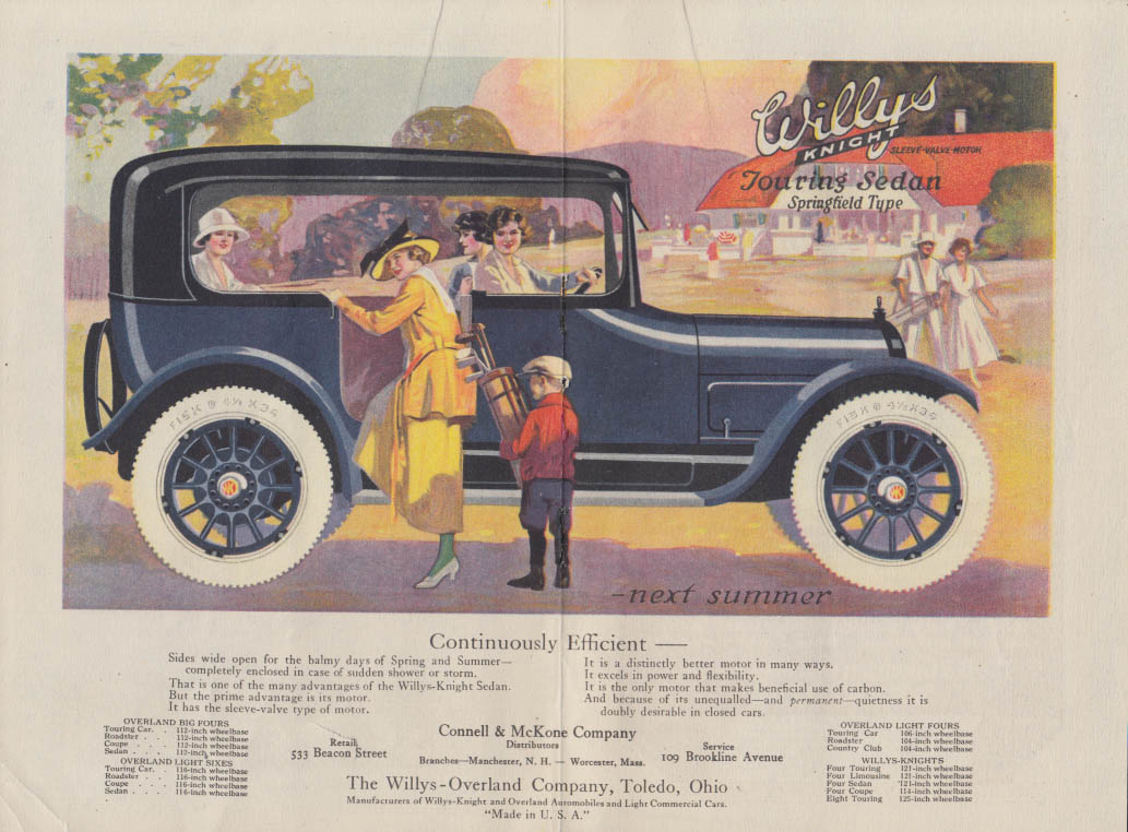 Image for Continuously Efficient - Willys-Knight Touring Sedan ad 1923