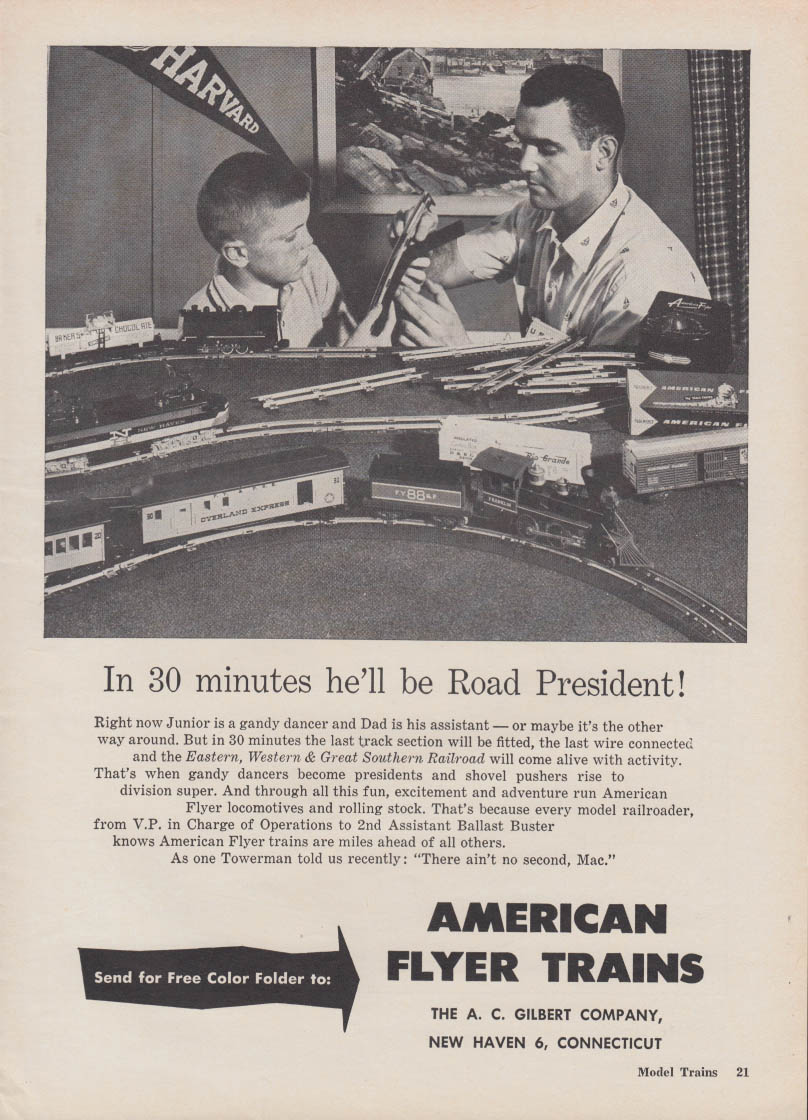In 30 minutes he'll be Road President - American Flyer Trains ad 1959