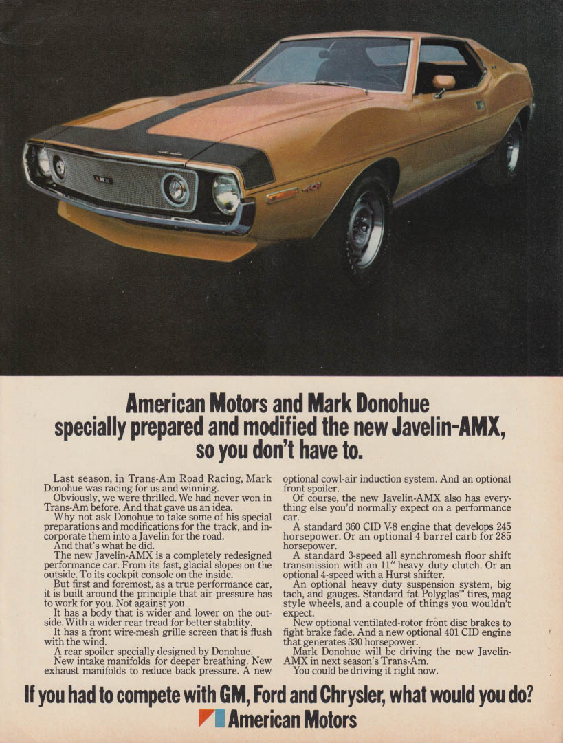 American Motors & Mark Donohue modified Javelin-AMX ad 1971 MT