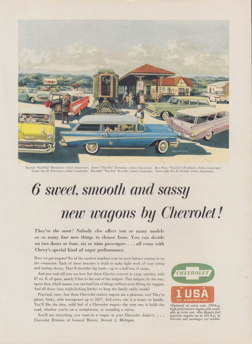 6 sweet smooth & sassy new wagons Chevrolet Nomad et al ad 1957 NY
