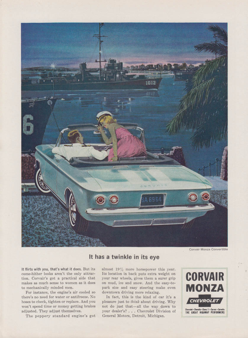 It has a twinkle in its eye Corvair Monxa Convertible ad 1964 NY