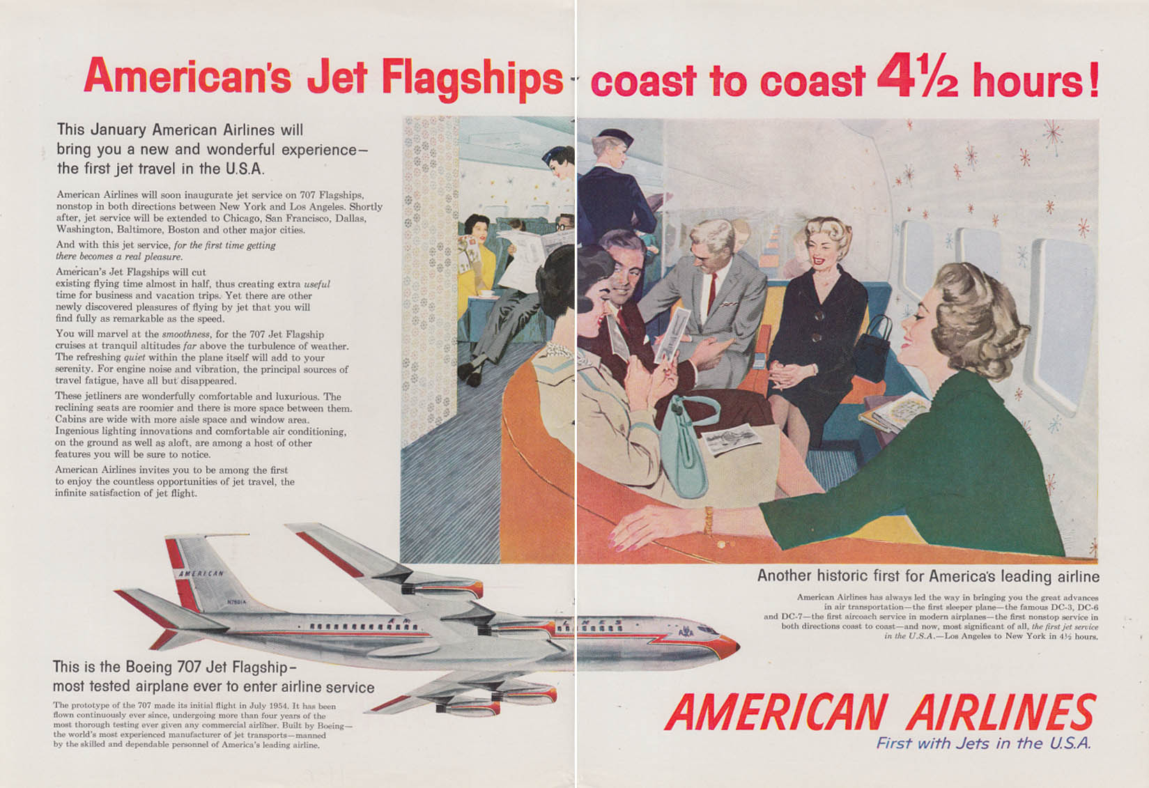 American Airlines Boeing 707 Flagships coast to coast 4 1/2 hours! Ad 1958