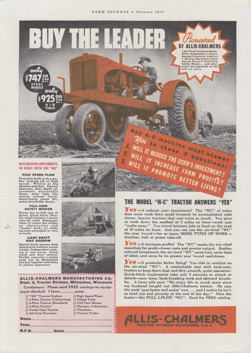 Buy the Leader - Allis-Chalmers Model W-C Tractor ad 1937