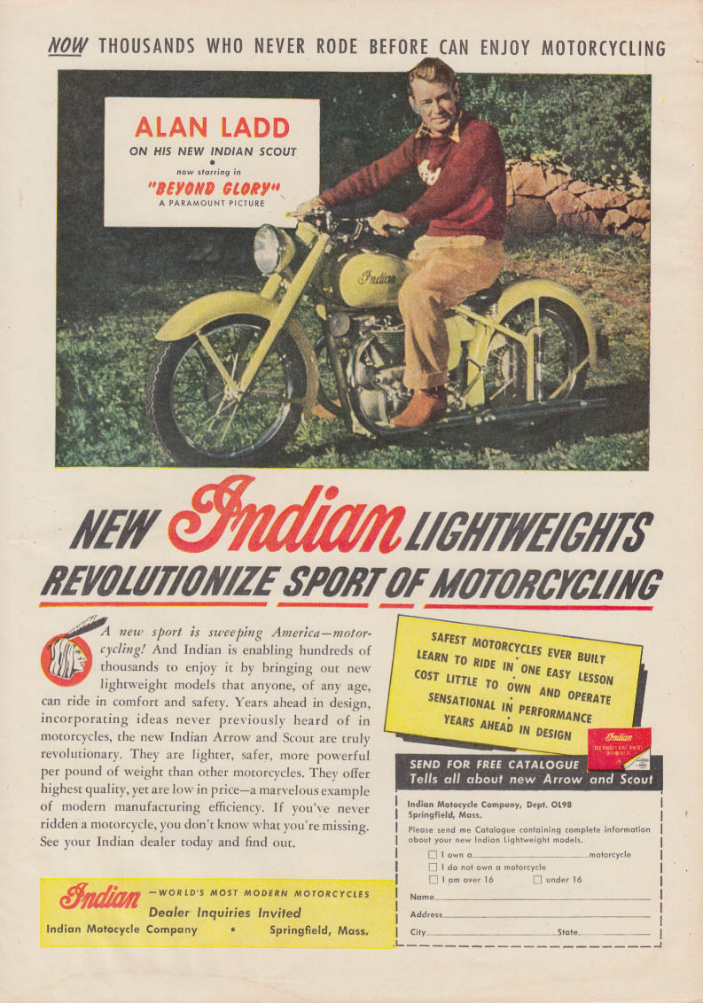 Alan Ladd in Beyond Glory for the Indian Lightweight Motorcycle ad 1948