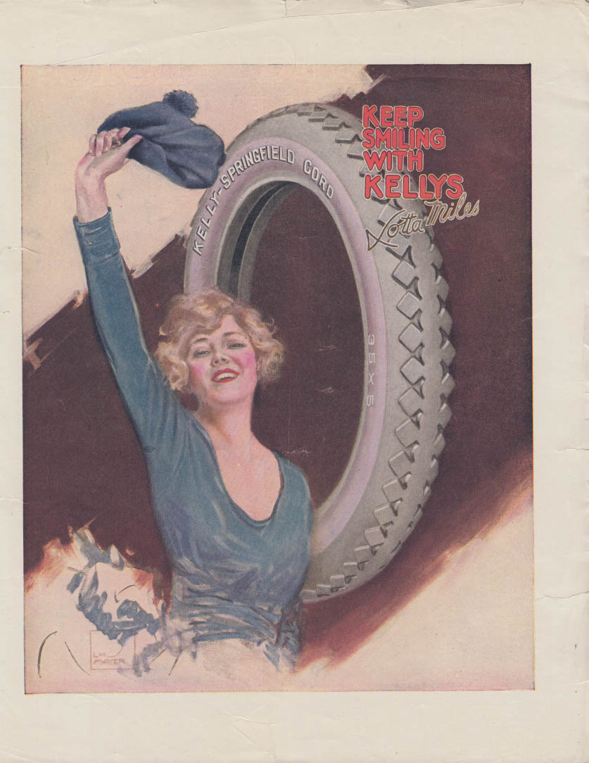Keep Smiling With Kellys Lotta Miles Kelly-Springfield Tire ad ca 1920 Mayer art