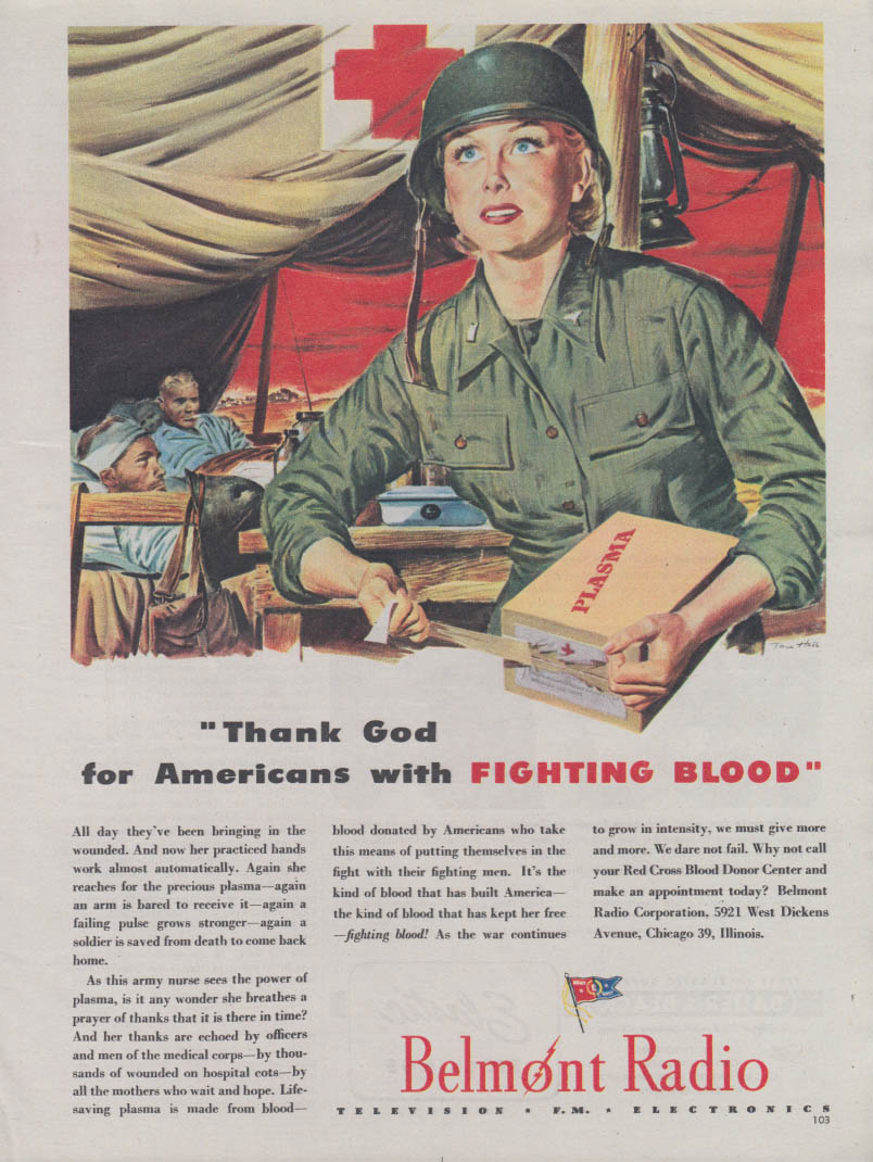 Thank God for Americans with Fighting Blood US Army Nurse Belmont Radio ad 1944