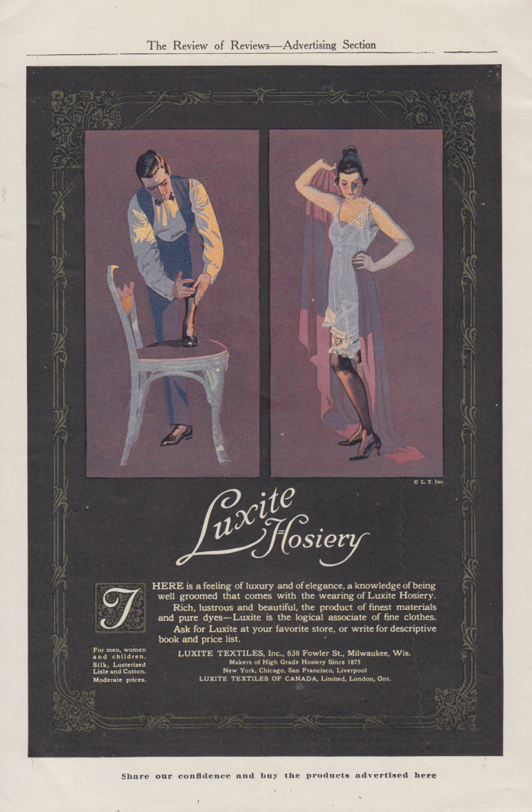 A feeling of luxury & elegance Luxite Hosiery ad 1917 Coles Phillips art